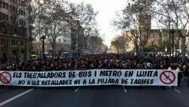 Manifestación de trabajadores de TMB.