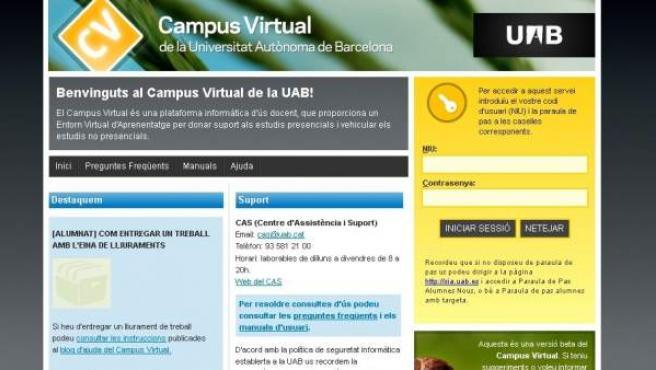 Página de acceso al campus virtual de la Universidad Autónoma de Barcelona (UAB).