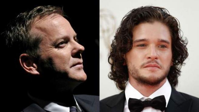 Los actores Kiefer Sutherland ('24'), a la izquierda, y Kit Harington ('Juego de tronos'), a la derecha.