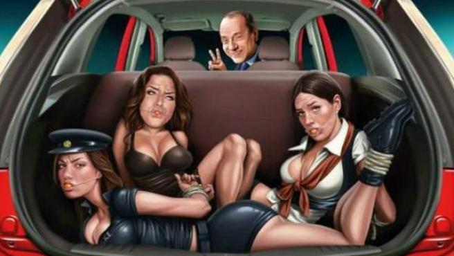 Anuncio de Ford India que presenta una caricatura de Silvio Berlusconi al mando de un coche con tres mujeres atadas en el maletero.