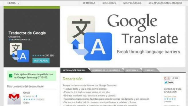 La app de traducción de Google en la tienda 'online' de la compañía.