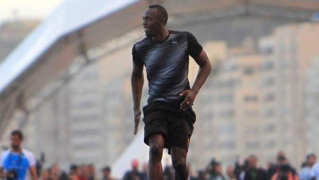 Usain Bolt entrena en Brasil.