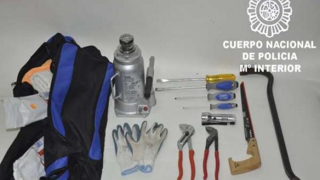 Material incautado a las personas detenidas