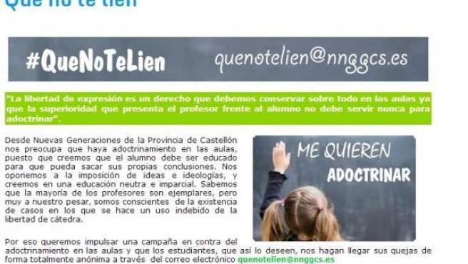 La campaña 'Que no te líen' de las NNGG del PP en Castellón