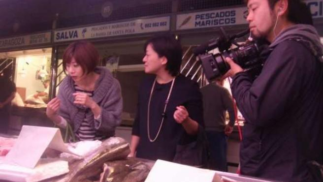 Un momento del rodaje de Japoneses por el mundo en Alicante