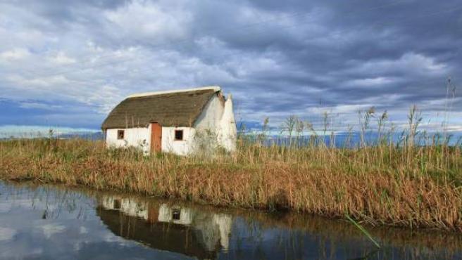 Una barraca en el Parque del Delta del Ebro.
