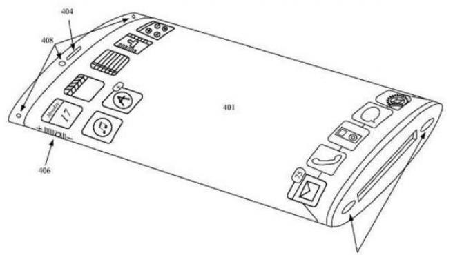 Dibujo de una nueva patente de un dispositivo de Apple.