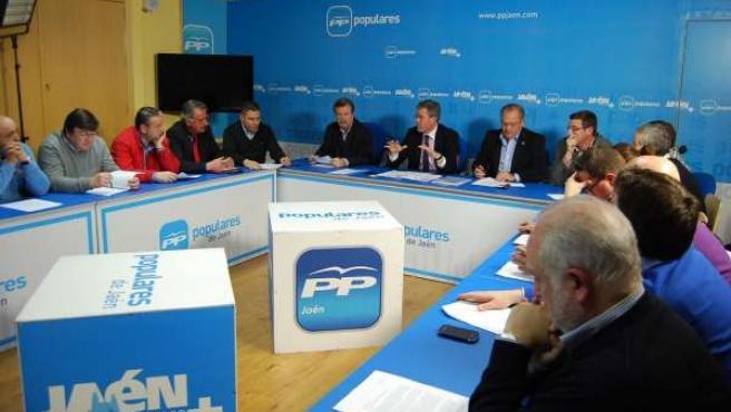 Fernández de Moya junto a alcaldes del PP hoy