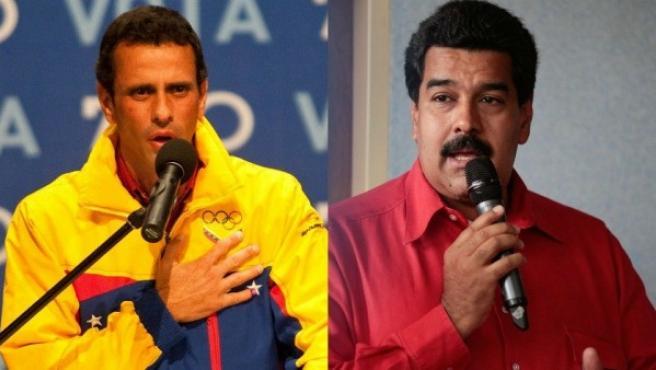 Los dos principales candidatos a la presidencia de Venezuela, Henrique Capriles y Nicolás Maduro.