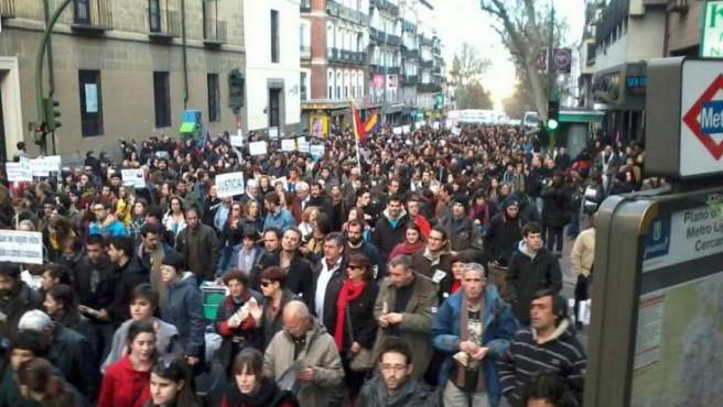 Momento de la manifestación convocada por 'Juventud sin Futuro' en Madrid.
