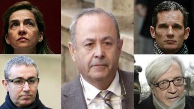 De arriba a abajo; (izq) Infanta Cristina, Diego Torres, Ana María Tejeiro. (dcha) Iñaki Urdangarin, Carlos García Revenga, Pedro Horrach. En el centro, el juez Castro.