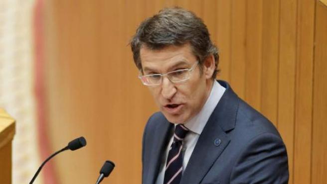 El presidente de la Xunta, Alberto Núñez Feijóo, en el Parlamento gallego.