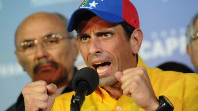 Henrique Capriles, en su discurso tras los comicios presidenciales de Venezuela.