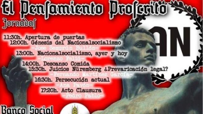 Cartel del evento organizado por Alianza Nacional para este 20 de abril.