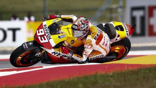 El piloto español de MotoGP Marc Márquez, en los entrenamientos del G. P. de las Américas, en Austin (Texas).