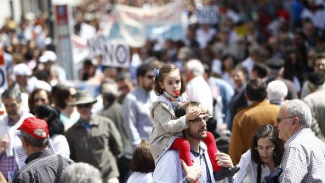 Imagen de una de las mareas blancas contra la privatización sanitaria que se han desarrollado en Madrid.