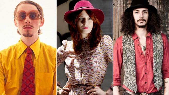 Modelos 'hipsters', entre ellos la cantante Florece Welch (en el centro).