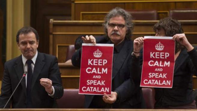 Los diputados de ERC en el Congreso Alfred Bosch, Joan Tardà y Teresa Jordà, en diciembre.