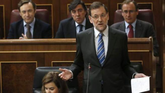 El presidente del Gobierno, Mariano Rajoy, durante su intervención en la sesión de control al Ejecutivo celebrada, este miércoles, en el Congreso de los Diputados.