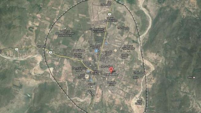 Imagen por satélite del distrito de Rayagada, en el estado de Odisha, al este de la India.