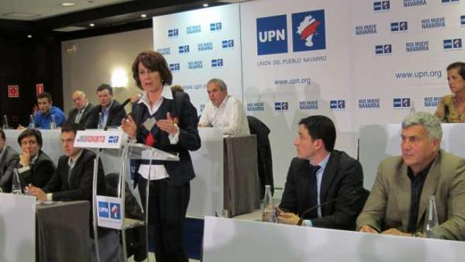 Yolanda Barcina interviniendo en el Consejo Político de UPN