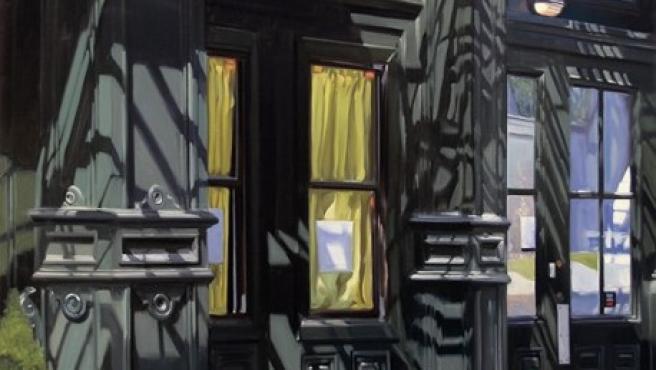 El pintor Stephen Magsign reproduce al óleo un portal de la calle Duane, en Nueva York