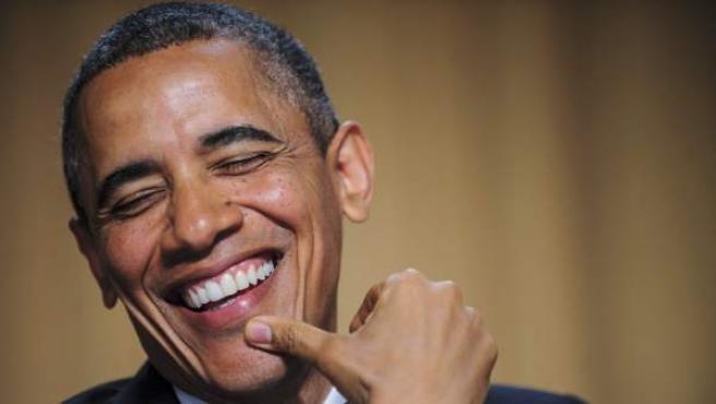 El presidente de EE UU, Barack Obama, en un momento de la cena anual con los corresponsales de la Casa Blanca.