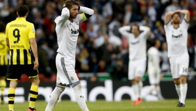 Sergio Ramos se lamenta en el Real Madrid - Borussia Dortmund.