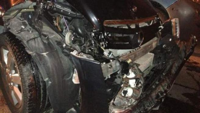 Imagen cedida del coche que conducía Miguel Ángel Rodríguez cuando se ha visto implicado en un accidente de tráfico por conducir ebrio.