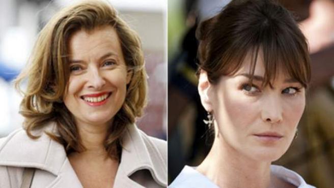 Valérie Trierweiler, pareja del actual jefe del Estado de Francia, François Hollande, y Carla Bruni, mujer del expresidente francés Nicolas Sarkozy.