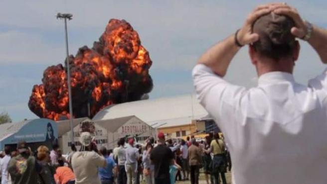 Explosion de un avión en Cuatro Vientos.