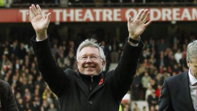 Homenaje a Alex Ferguson en Old Trafford en su 25º aniversario como entrenador del Manchester United.