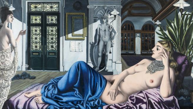 El elogio de la melancolía, un cuadro de grandes proporciones (153 x 255 centímetros), pintado por Delvaux en 1948