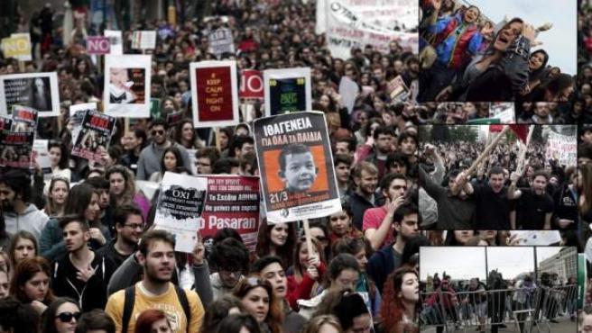 Imagen de archivo de una manifestación de estudiantes en Grecia.