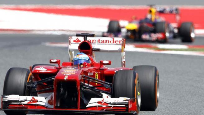El piloto español de Ferrari Fernando Alonso en el GP de España.