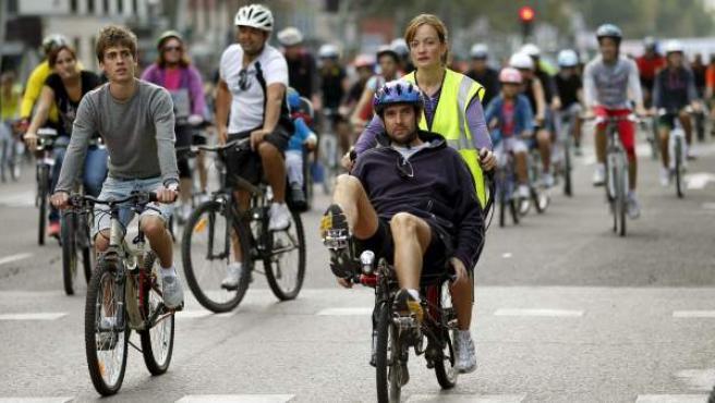 Fiesta de la bicicleta en Madrid.