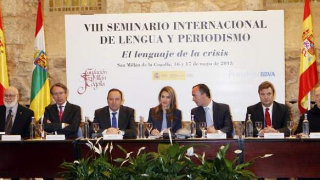 La princesa Letizia en la inauguración del VIII Seminario Internacional de Lengua y Periodismo en San Millán de la Cogolla (La Rioja).