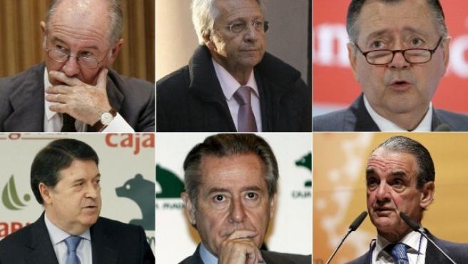 Rodrigo Rato, Fernández Gayoso, Alfredo Sáenz, José Luis Olivas, Miguel Blesa y Mario Conde.
