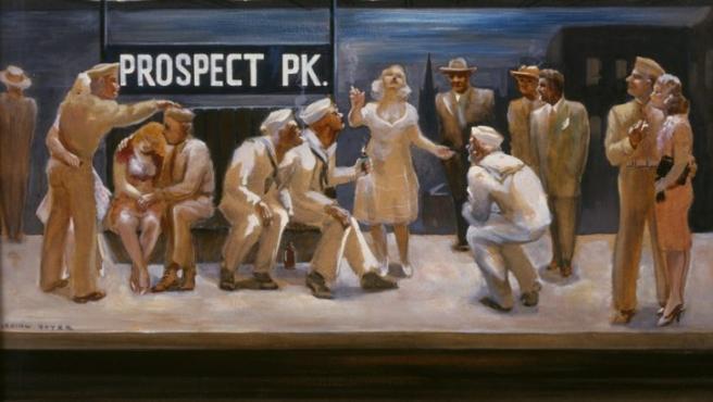 Irving Boyer recrea con romanticismo la visión de un andén de la estación neoyorquina de Prospect Park en los años cuarenta