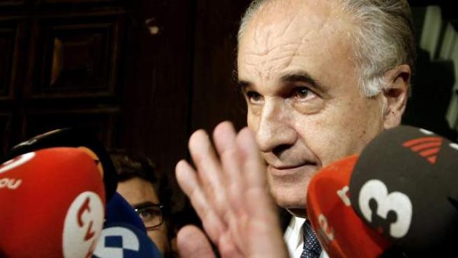El exconseller de Solidaridad y Ciudadanía y exportavoz del PP en Las Cortes Valencianas, Rafael Blasco, ante los medios de comunicación a su salida del Tribunal Superior de Justicia valenciano (TSJCV).