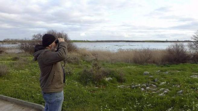 Un hombre observa el Parque Nacional de Las Tablas de Daimiel, en la provincia de Ciudad Real, donde se incorporarán nuevos ecosistemas terrestres.