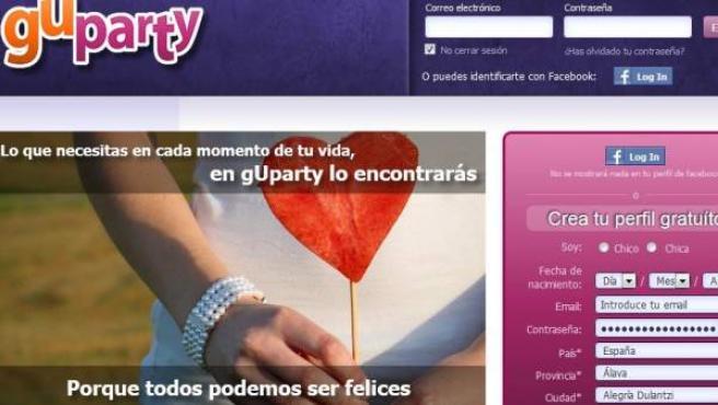Imagen de la página web de contactos guparty.