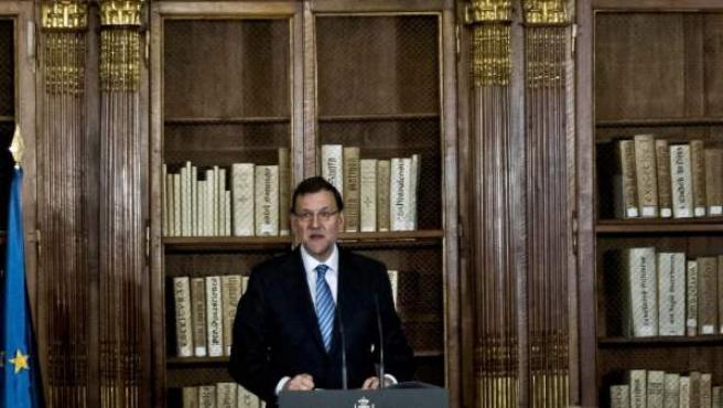Mariano Rajoy, en la Biblioteca Nacional.