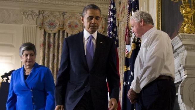 El presidente estadounidense, Barack Obama, tras hablar sobre el tornado de Oklahoma.