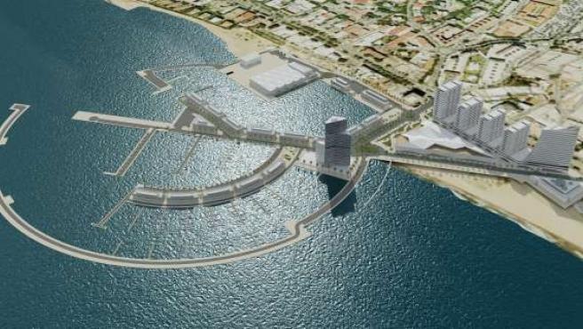 Recreación del proyecto de ampliación del puerto la bajadilla de Marbella
