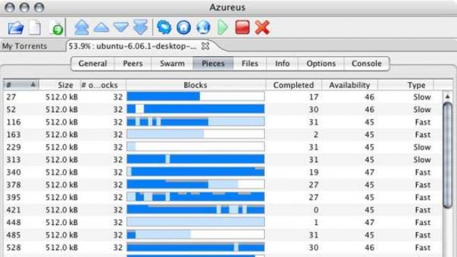 Imagen de un programa de intercambio de archivos P2P.