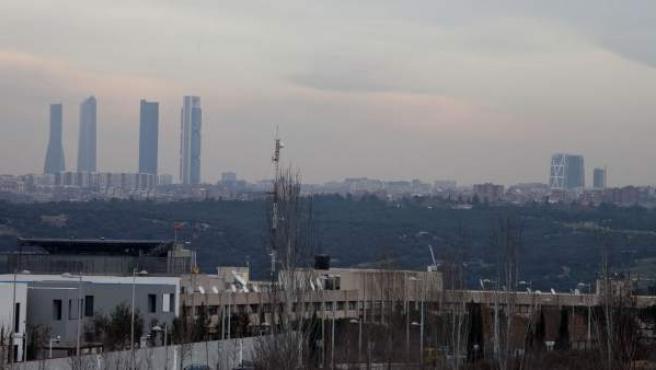 Imagen de la 'boina' de contaminación en Madrid.