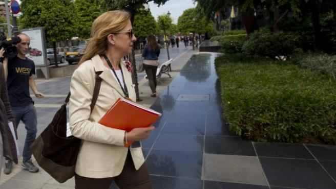 La infanta Cristina, a su salida de su trabajo.