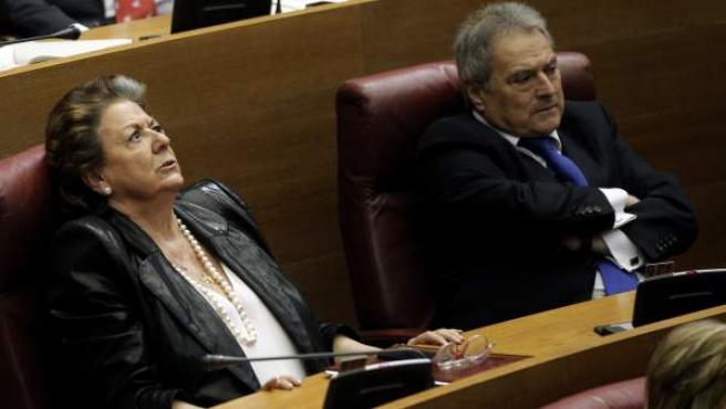 La exalcaldesa de Valencia Rita Barberá, junto al expresidente de la Diputación Alfonso Rus.