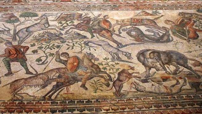 Mosaico romano figurativo en la villa romana de La Olmeda, Pedrosa de la Vega (Palencia, Castilla y León).